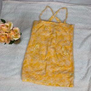 Volvom Yellow White Mini Dress Sz M